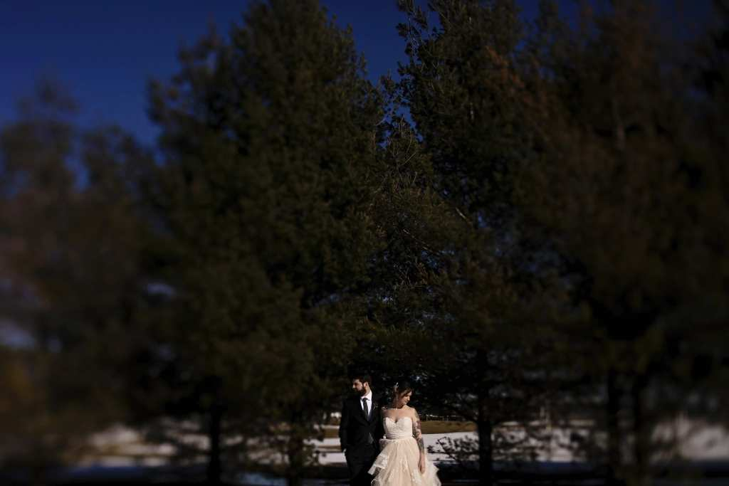 couple standing in front of pines in strong sunlight with bride in blush gown