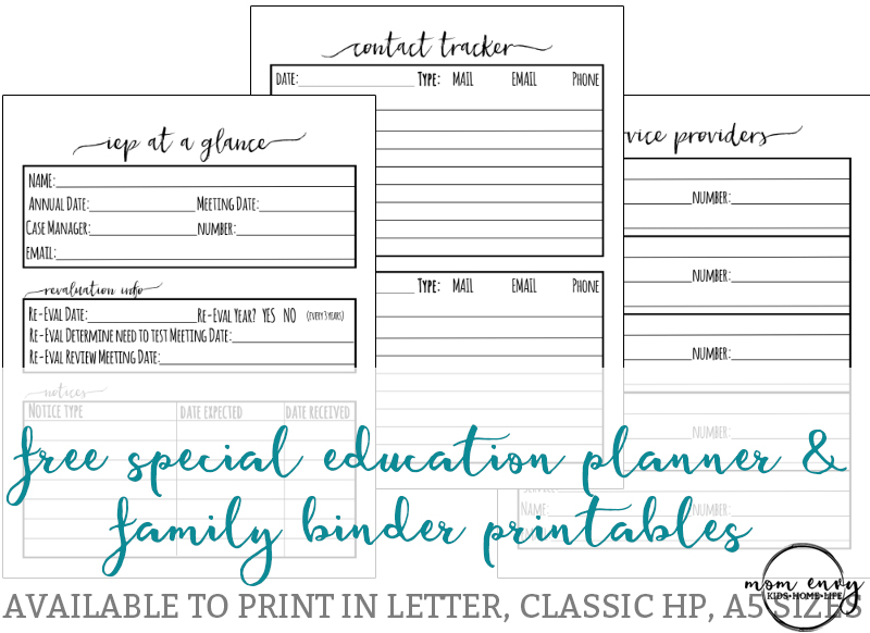 Special Education plannner inserts Free special education planner