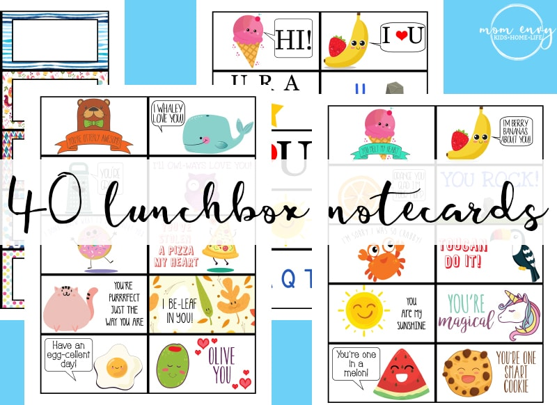 Free Lunchbox Notes - 40 Free Printable Lunch Notecards