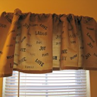 Stenciled Burlap Curtain