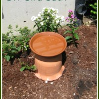 DIY Bird Bath from a Clay Pot