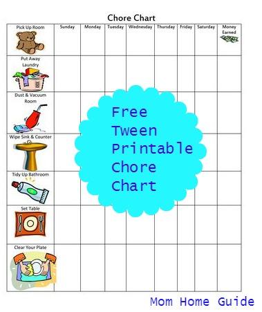 Free Printable Chore Chart for Tweens