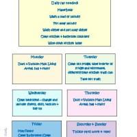 Weekly Cleaning Schedule - Free Printable