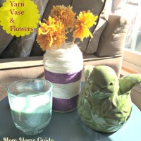 Upcycled Glass Jar & Pom Pom Flowers