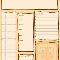 Free Printable Daily Agenda Sheet for Moms In Fall Colors With Doodle Spot and Meal Plans