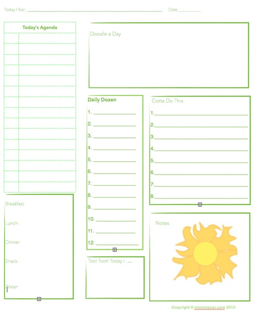 Free Printable Daily Planning Agenda - Sheet for Summer - Momma Can