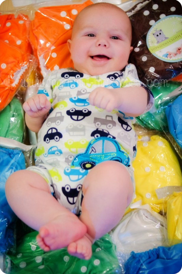 Gavin with lots of new Hipkiddo cloth diapers