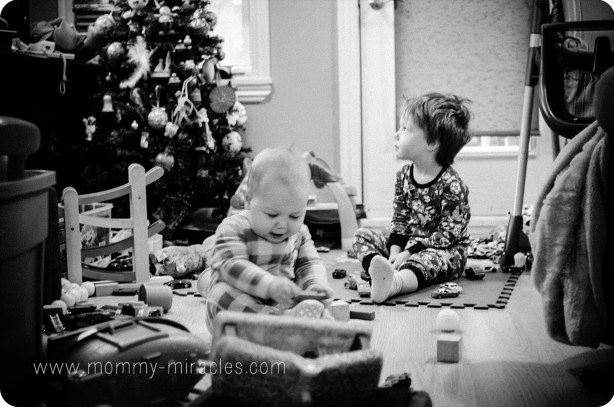 Cameron and Gavin sitting in our living room
