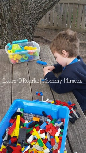 Preschooler using his imagination