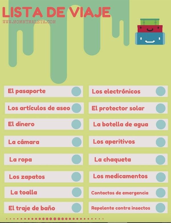 Freebie Printable Lists In Spanish - MommyMaleta