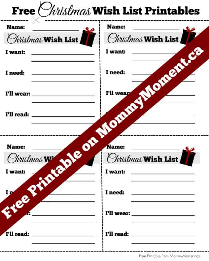 FREE CHRISTMAS WISH LIST PRINTABLES - Mommy Moment - free christmas wish list