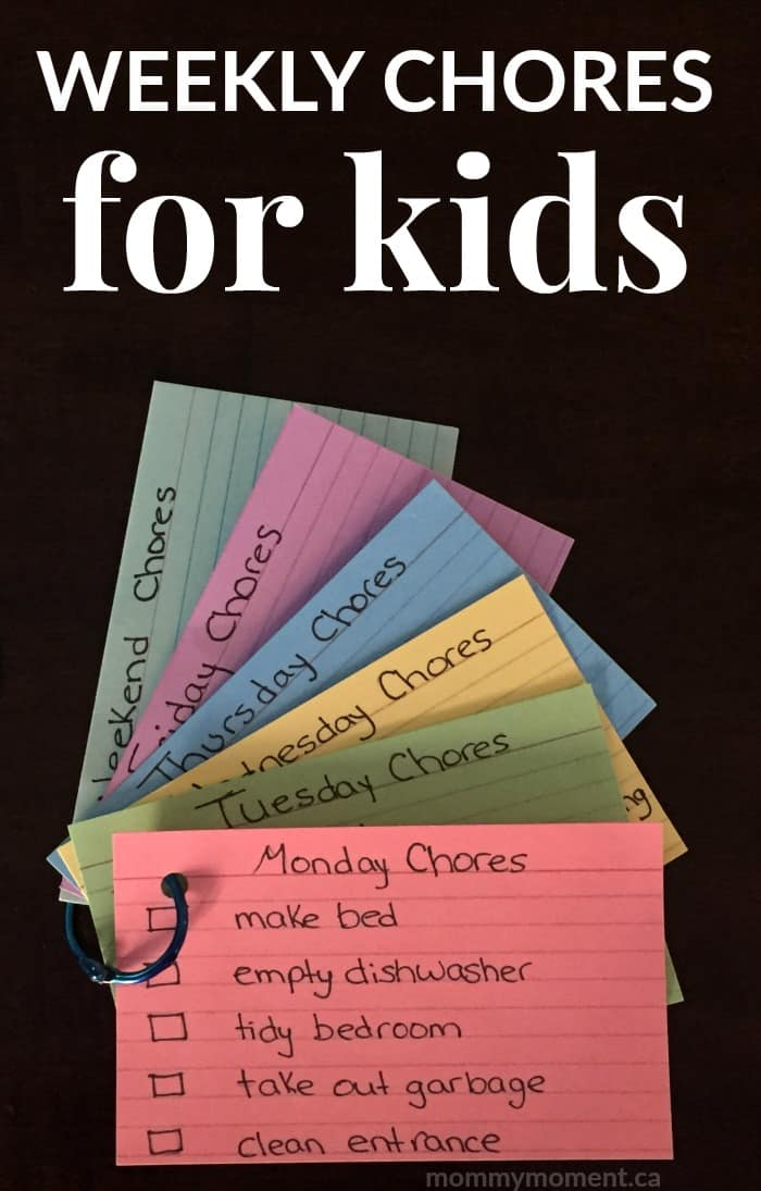 WEEKLY CHORES FOR KIDS Mommy Moment