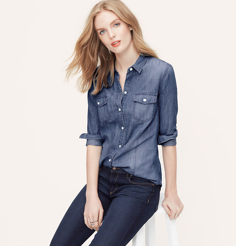 A fitted denim button-down is both flattering and functional. Was $54.50, now $32.70. Click photo to purchase.