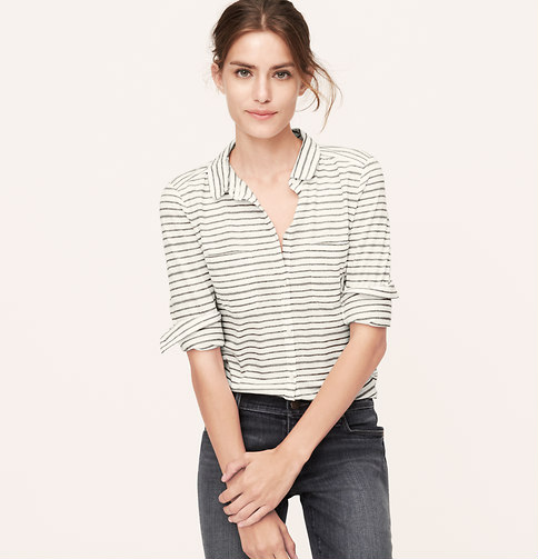 The thin stripes on this blouse won't make you look bigger, but will make you look stylish. Was $49.50, now $29.70.