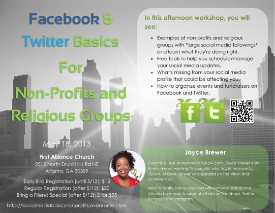 Social Media for Non-Profits and Religious Groups in Atlanta Class May 18, 2013