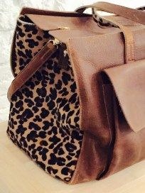 Cognac Leather + Leopard Pony Hair