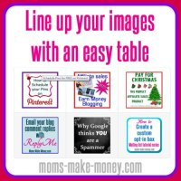 Line up images with an easy html table
