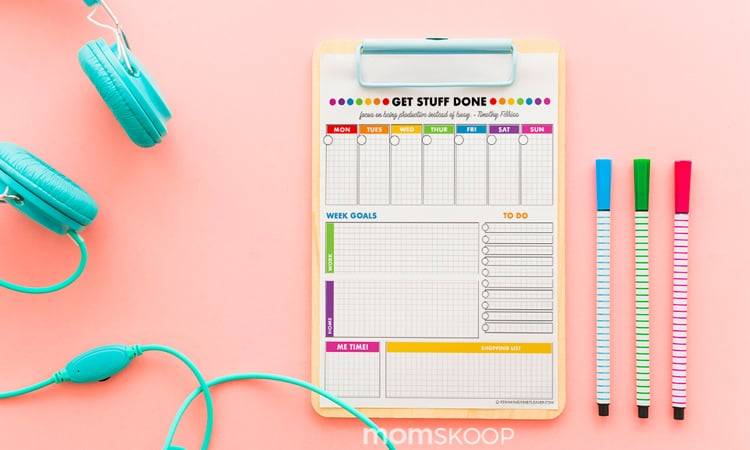 FREE PRINTABLE WEEKLY PLANNER - BRIGHT  BOLD