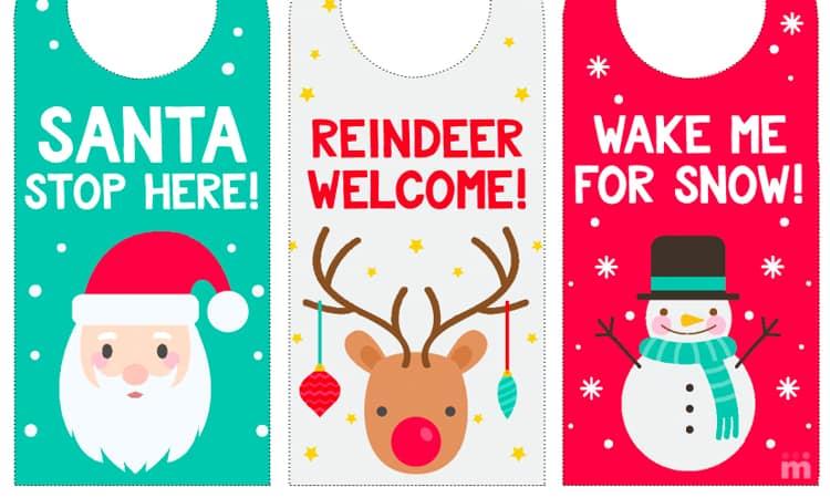 Printable Christmas Door Hangers for Kids