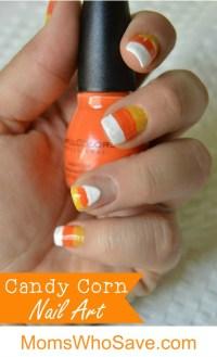 Halloween Candy Corn Nail Art Tutorial | MomsWhoSave.com