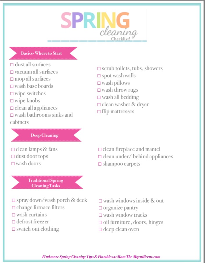 Spring Cleaning Tips  Hacks with Checklist! - Mom the Magnificent - Sample Spring Cleaning Checklist