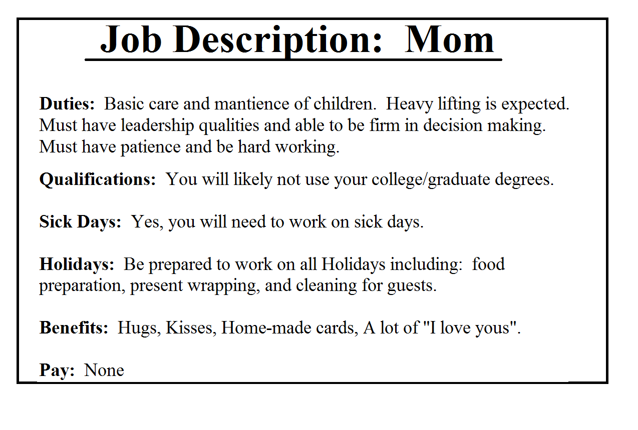 job description for stay at home mom tk job description for stay at home mom 24 04 2017