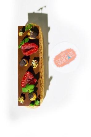 dessert eclair framboise shiso