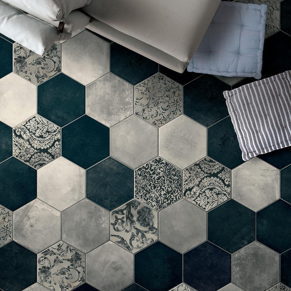 Carreaux De Ciment Texture Carrelage Hexagonal Imitation Carreaux De Ciment 24x27 7 Collins Blue Naturel Collection Miami Cir