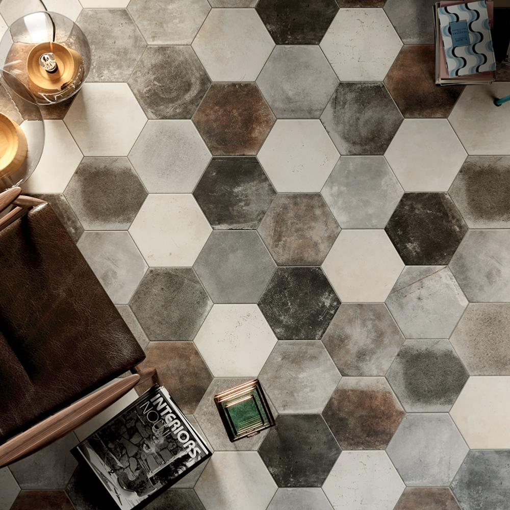 Carreaux De Ciment Texture Carrelage Sol Hexagonal Effet Carreaux De Ciment 24x27 7 Dust Grey Naturel Collection Miami Cir