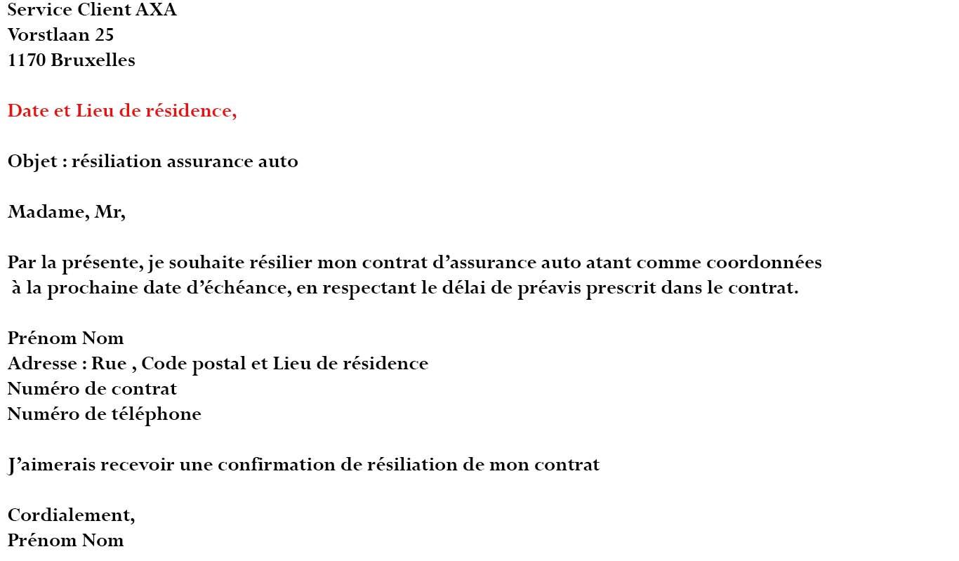 lettre resiliation assurance auto echeance