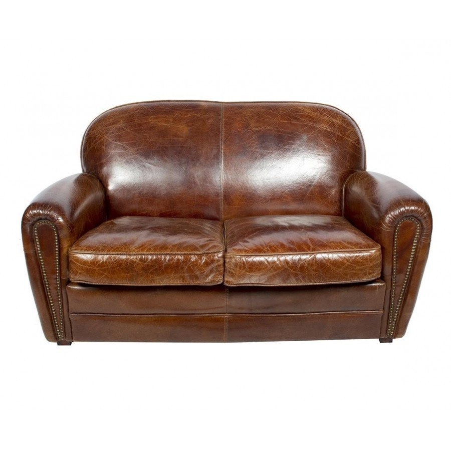 Canape Chesterfield De Qualite Canapé 2 Places Bridge En Cuir Marron Vintage