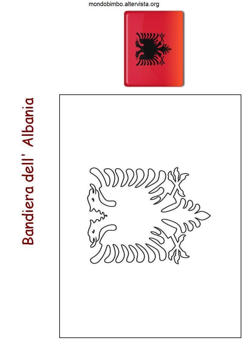 Bandiera E Mappa Dell Albania Da Colorare Mondo Bimbo