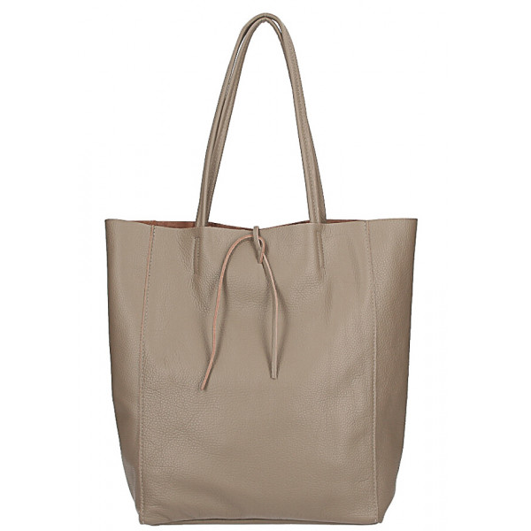 Maxi Ledertasche 396 Dunkel Taupe Made In Italy Mondo