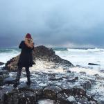 Lucy foodgoblin braving the elements and 60mph wind at GiantsCausewayhellip