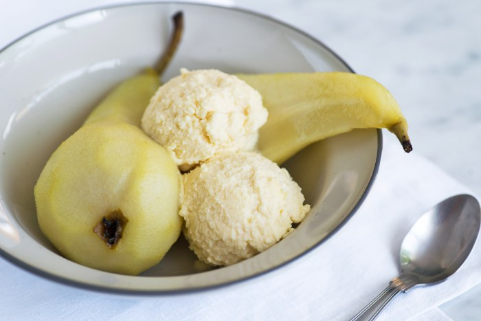 Poached Pears with Grana Padano Ice Cream