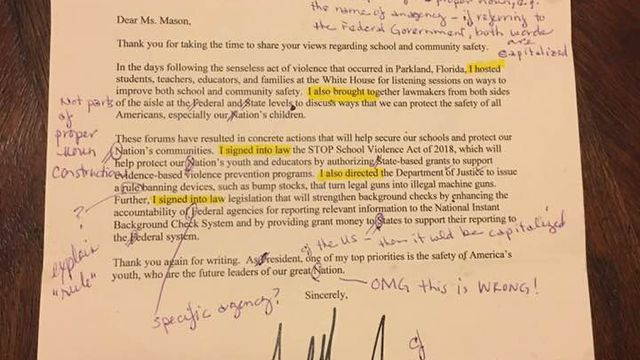 Teacher corrects letter from White House, then sends it back