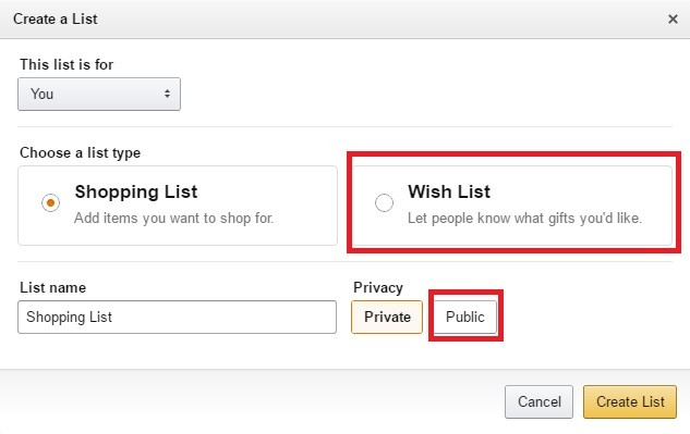 Create amazon wish list