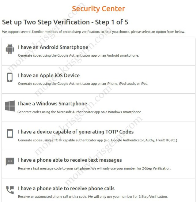 Set up Two Step Verification - Step 1 of 5