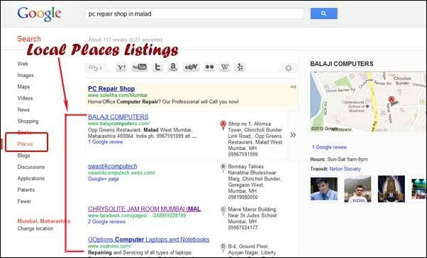 how to get to the top of google local search
