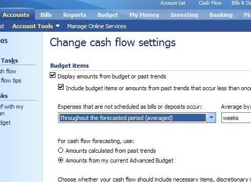 Changing the cash flow from \u0027trended\u0027 to \u0027budget\u0027 items Microsoft
