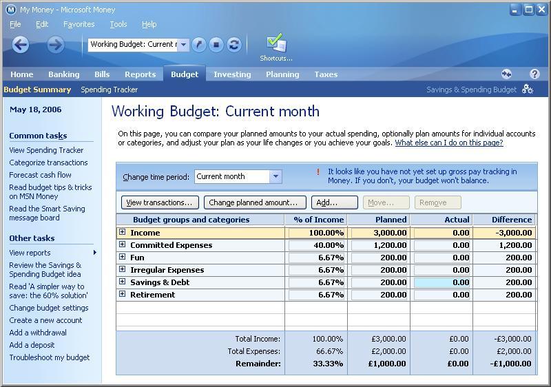 Savings and Spending Budget Microsoft (MS) Money FAQ and Help