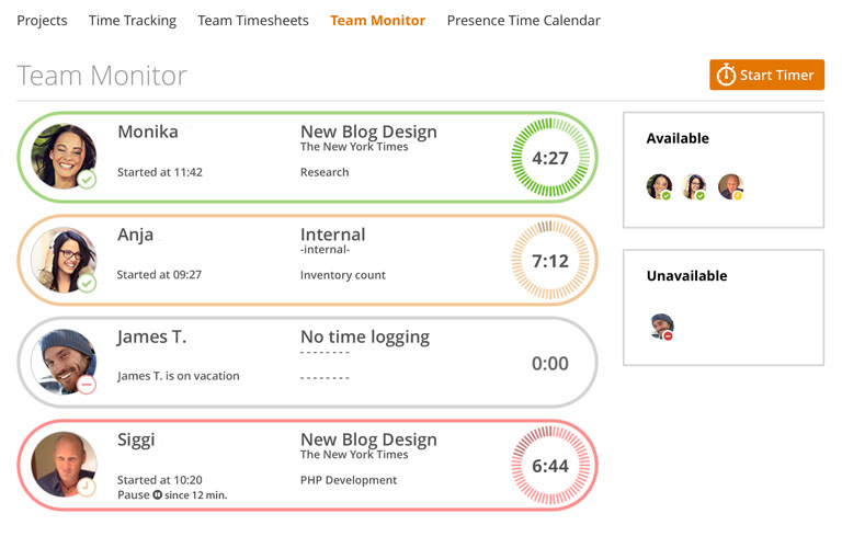 Live Time Tracking App \u2013 Team Time Tracking with MoneyPenny - vacation tracker app