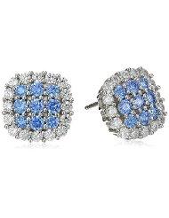 Swarovski Blue and White CZ Stud Earrings