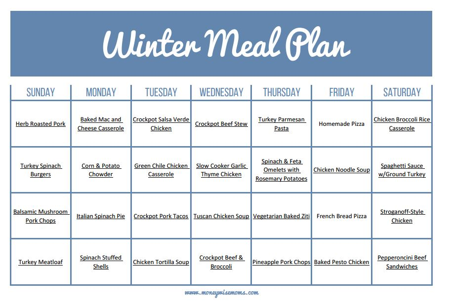 The Ultimate Winter Meal Plan - Moneywise Moms