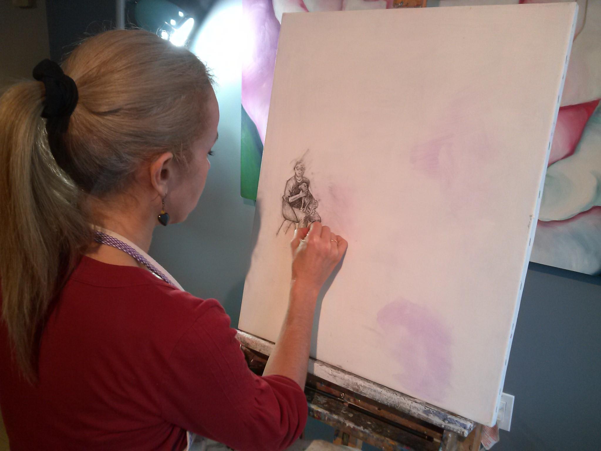 Monika Ruiz painting Jay and Boo