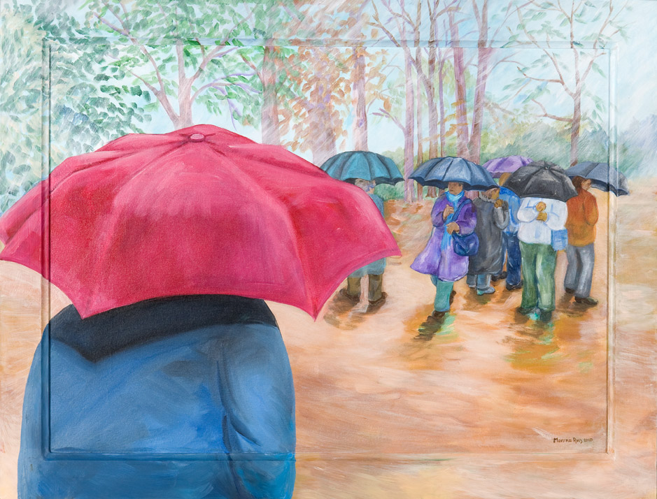 Monika Ruiz Art - Rain Red Umbrella