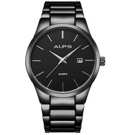 Men's Black Stainless Steel Classic Luxury Quartz Analog Wrist Watch With Date Calendar Window