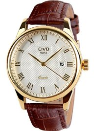 CIVO Men's Luxury Brown Leather Band Date Calendar Wrist Watch Casual Business Waterproof Gold Watch