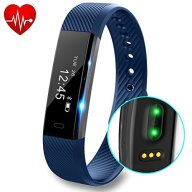 Fitness Tracker with Heart Rate monitor V2 Activity Watch Step Walking Sleep Counter Wireless Wristband Pedometer Exercise Tracking Sweatproof Sports Bracelet for Android and iOS, Blue, Hembeer