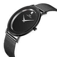 AFFUTE Luxury Men's Watches Minimalistic Slim Design Quartz Analog Wrist Watch with Black Mesh Strap